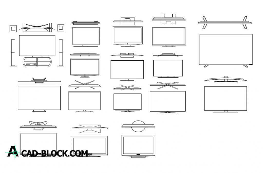 Tv Cad Blocks Dwg Download Free In Autocad Cad Blocks