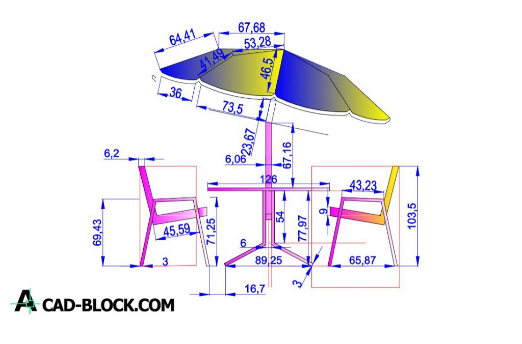 Free Umbrella table dwg for Autocad