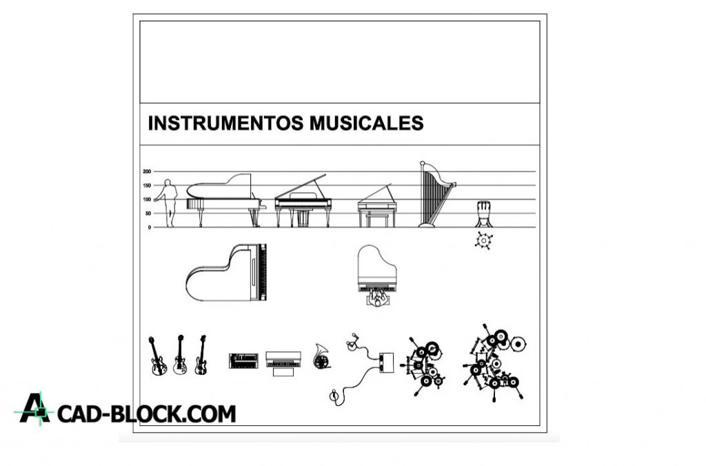 Free Blocks of musical instruments dwg for Autocad