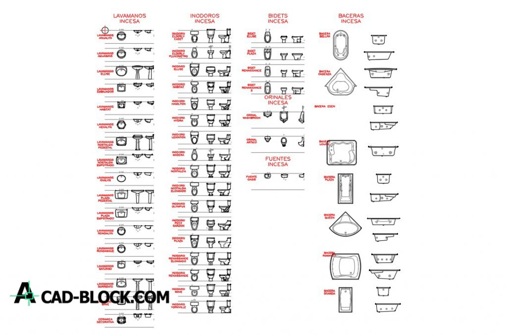 Toilets blocks in Autocad DWG