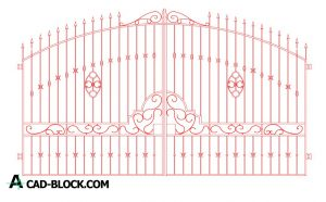 Decorative wrought iron entry gate dwg in Autocad
