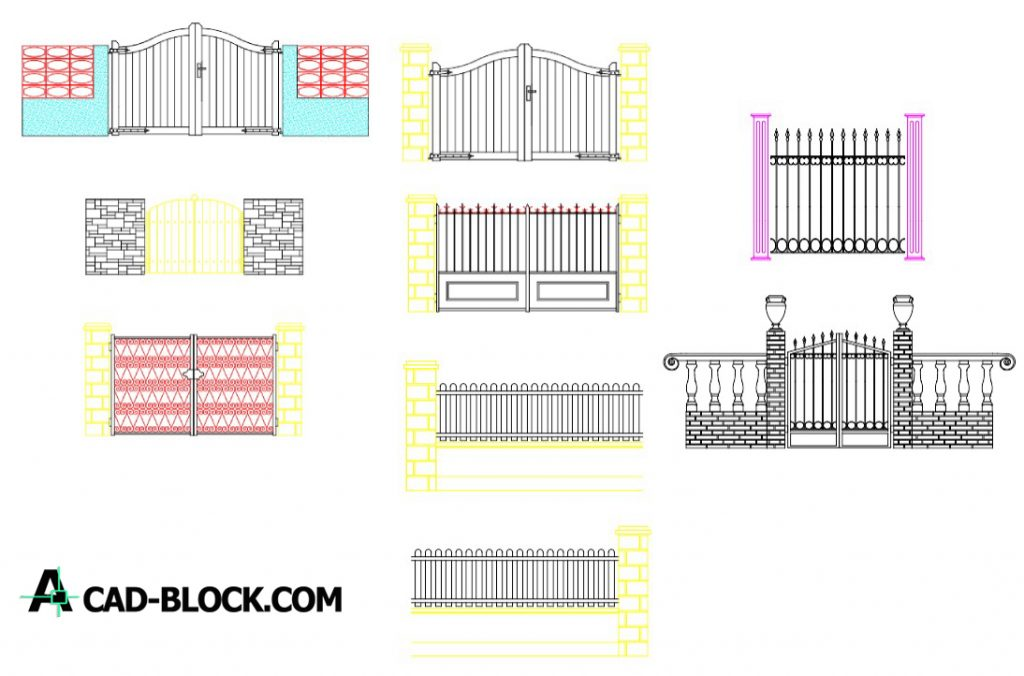 Fences, gates and front dwg in Autocad