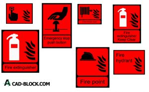 Fire signs emergency and evacuation dwg in Autocad