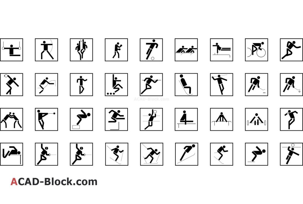 Pictogram sport dwg in Autocad