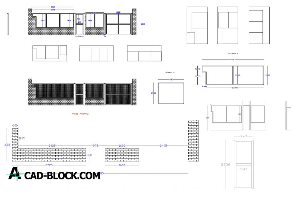 Porton front dwg in Autocad