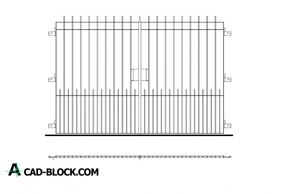 Vehicular entrance gate dwg in Autocad