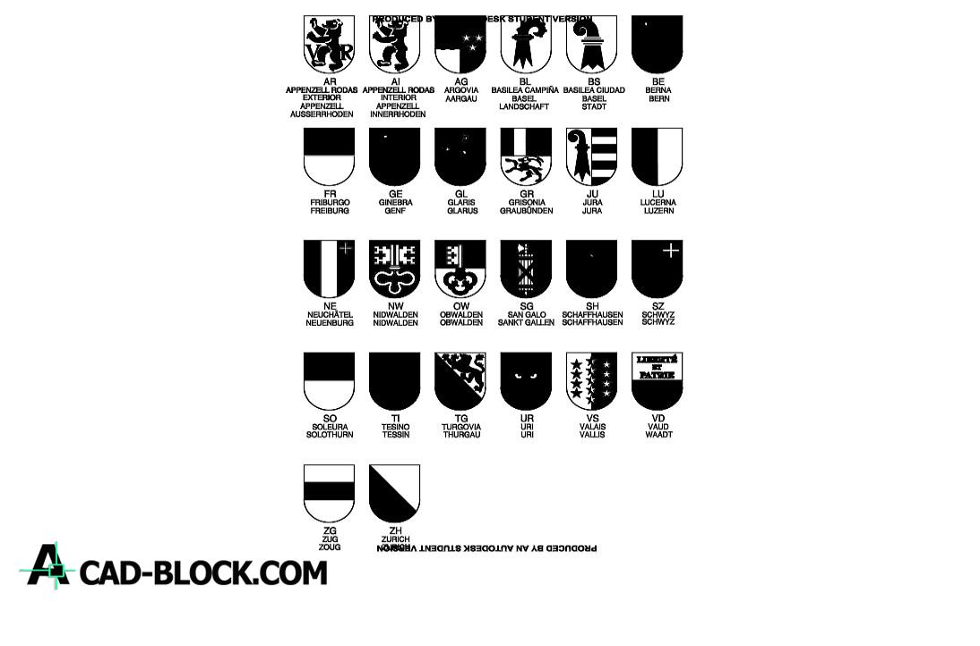 Swiss shield cantones dwg drawing