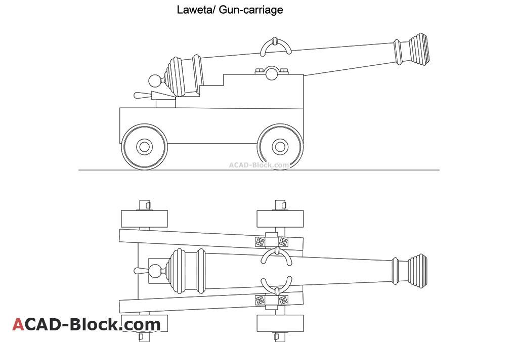 Laweta Gun Carriage dwg in Autocad