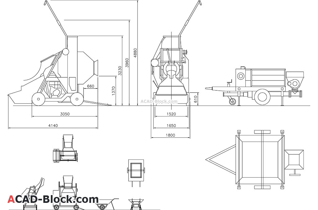 Concrete equipment cad blocks dwg in Autocad