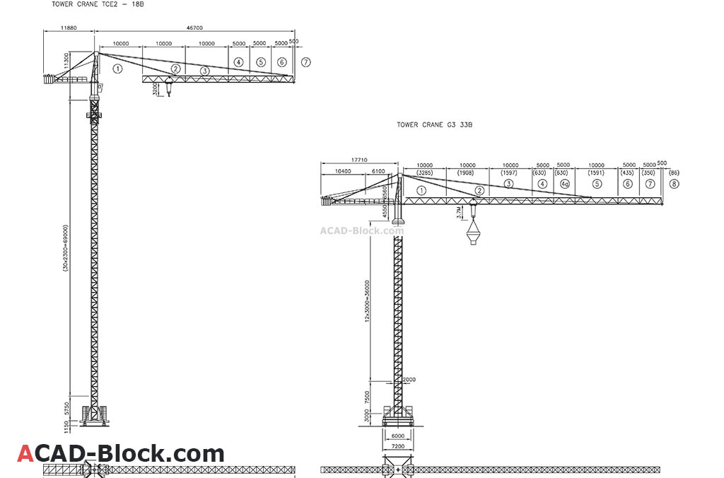 Tower Crane cad blocks dwg in Autocad