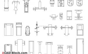 Gym equipment in plan CAD blocks